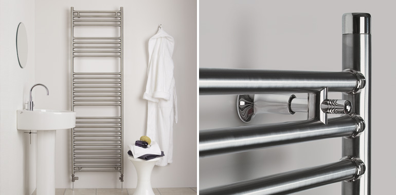 Brushed Chrome Bathroom Radiators: Seren Stainless Steel Towel Radiator